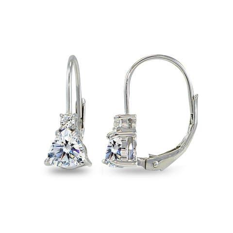 ICZ Stonez Trillion-Cut Leverback Drop Earrings Made with Swarovski Zirconia - Silver
