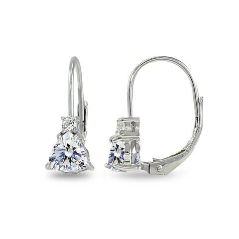 d53e15701 ICZ Stonez Trillion-Cut Leverback Drop Earrings Made with Swarovski  Zirconia - Silver