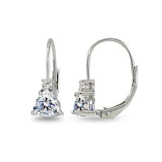 ICZ Stonez Trillion-Cut Leverback Drop Earrings Made with Swarovski Zirconia - Silver