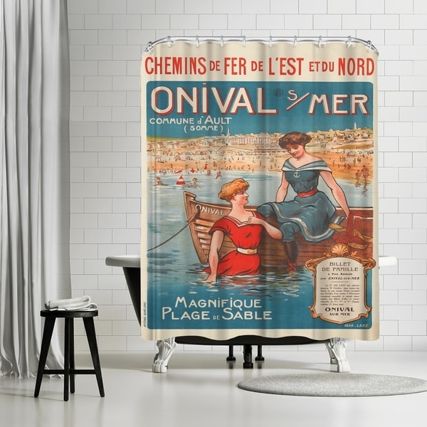 Americanflat X27Vintage French Beach Travel Postex27 Shower Curtain