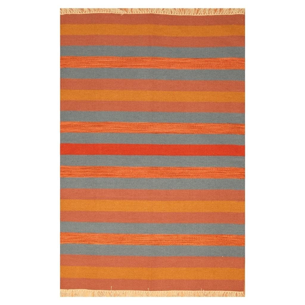 Handmade Herat Oriental Indo Hand-woven Tribal Wool Kilim (46 x 67) - 46 x 67 (Blue - 46 x 67)