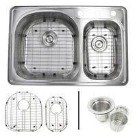 33 Inch Top-mount Stainless Steel 70/30 Double Bowl Kitchen Sink 18G Combo