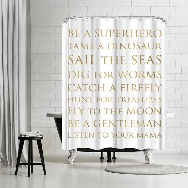 Shop Americanflat Be A Superhero Gold On White Shower Curtain