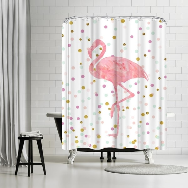Shop Americanflat Pink Flamingo On Confetti Shower Curtain