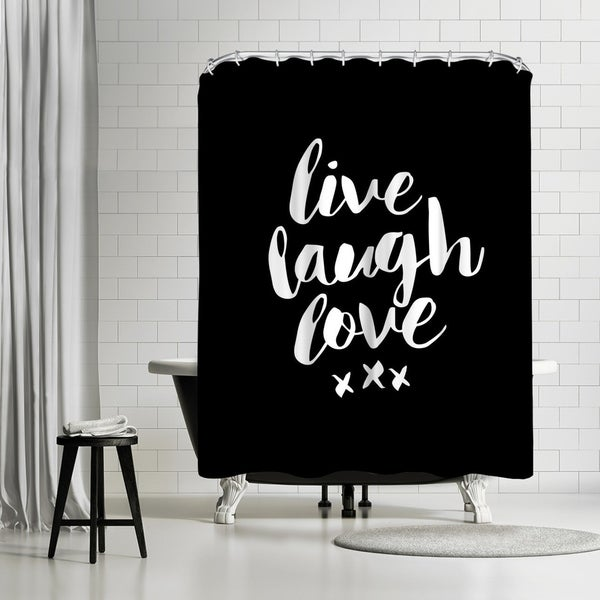 Shop Americanflat Live Laugh Love Blk Shower Curtain