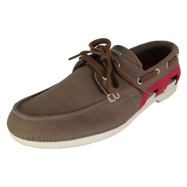 b8c80985a33b Shop Crocs Mens Beach Line Lace Up Boat Shoes