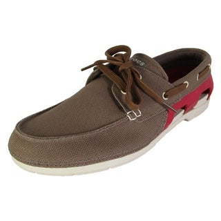 Crocs Mens Beach Line Lace Up Boat Shoes, Walnut/Stucco