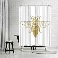 Americanflat 'Bumblebee Gold On White' Shower Curtain