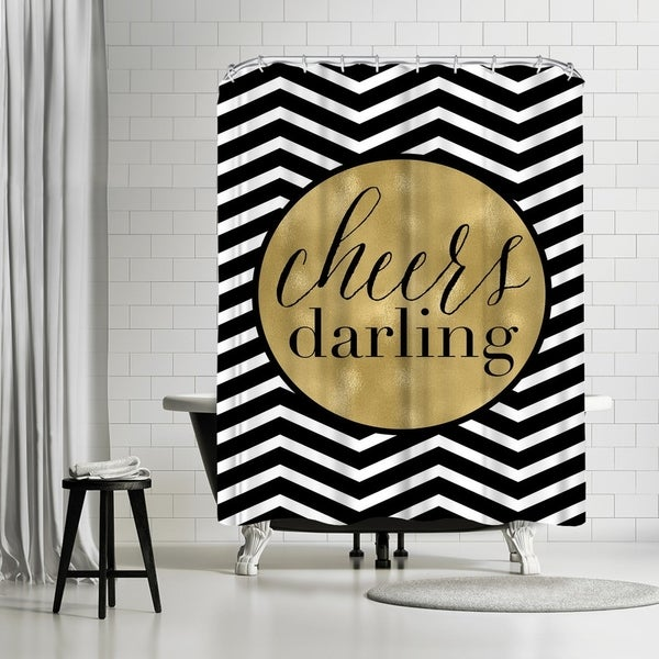 Shop Americanflat Cheers Darling Black White Chevron Shower Curtain