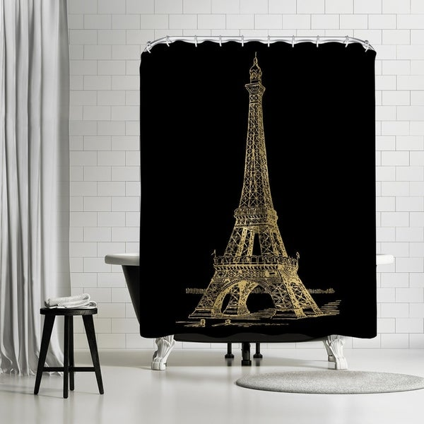 Shop Americanflat Eiffel Tower Gold On Black Shower Curtain