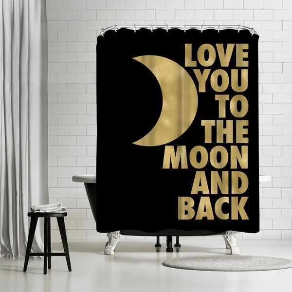 Shop Americanflat Love You Moon Back Gold On Black Shower Curtain