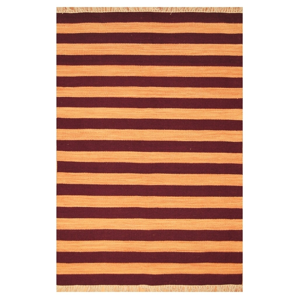 Handmade Herat Oriental Indo Hand-woven Tribal Wool Kilim (45 x 66) - 46 x 66 (Orange - 46 x 66)