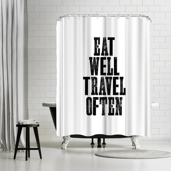 Shop Americanflat Eat Well Travel Often Shower Curtain