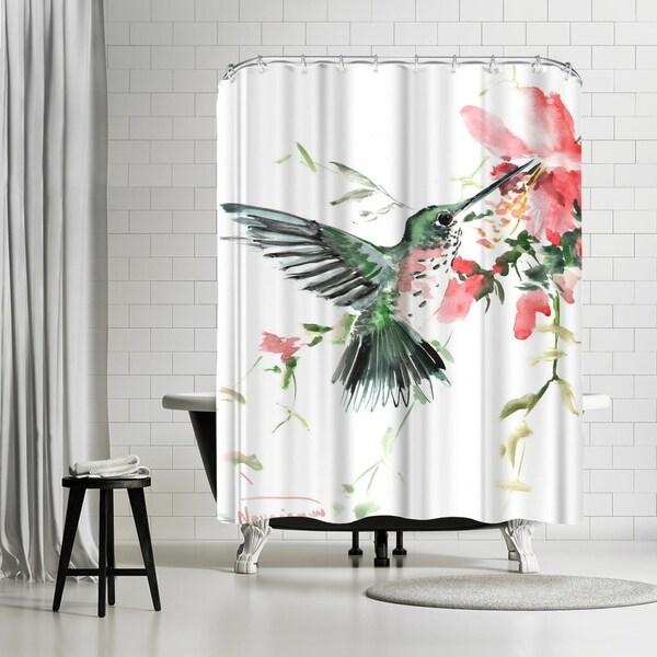 Shop Americanflat Hummingbird Orange Flowers Shower Curtain
