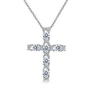 ICZ Stonez Oval-Cut Cross Pendant Necklace Made with Swarovski Zirconia - Silver