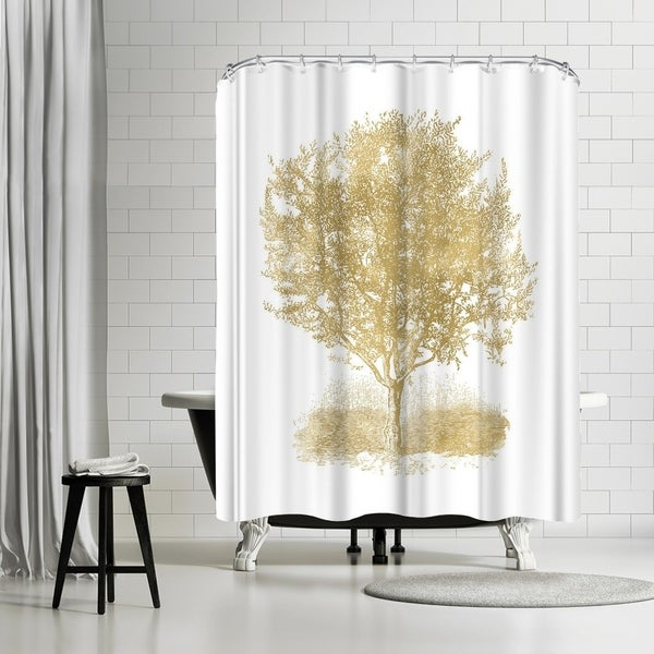Shop Americanflat Olive Tree Gold On White Shower Curtain