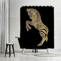 Americanflat 'Zebra Gold On Black' Shower Curtain