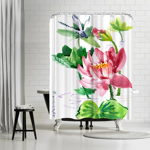 Shop Americanflat Dragonfly And Lotus Shower Curtain