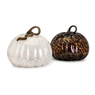 Brown and Ivory Extra Large Glass Pumpkins (Ast 2)