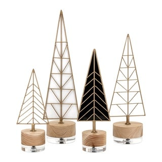 Deco Clear and Gold Christmas Trees (Set of 4)