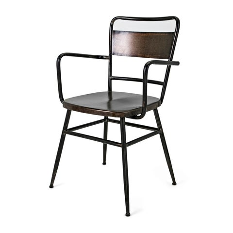 Oscar Black and Bronze Distressed Metal Arm Chair