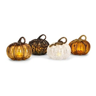 Multi-color Medium Glass LED Pumpkins (Ast 4)