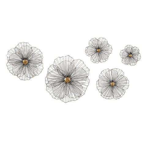 Trisha Black and Yearwood Wire Hibiscus Wall Decors (Set of 5)