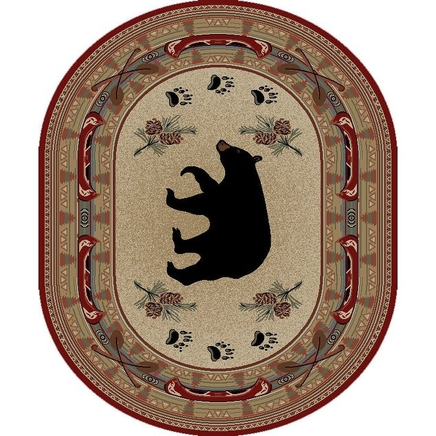 Rustic Lodge Red Black Bear Fish Oval Area Rug - 53 x 73 Oval (Red - 53 x 73 Oval)