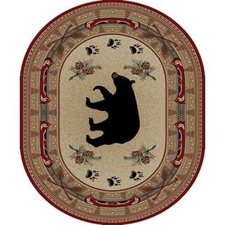 "Rustic Lodge Red Black Bear Fish 5x7 Oval Area Rug 5'3""x7'3"" - 5'3"" x 7'3"" Oval"