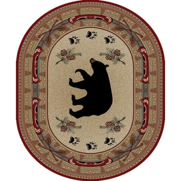 """Rustic Lodge Red Black Bear Fish Oval Area Rug - 5'3"""" x 7'3"""" Oval"""