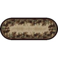 "Rustic Lodge Pine Cone Border Oval Area Rug - 2'3"" x 5'3"" Oval"