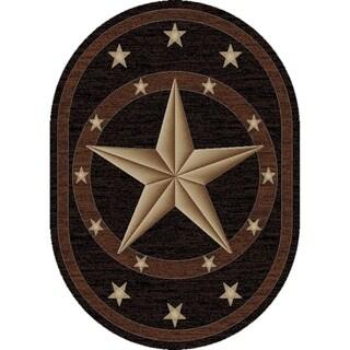 """Western Texas Star Black Oval Area Rug - 7'10"""" x 9'10"""" Oval"""