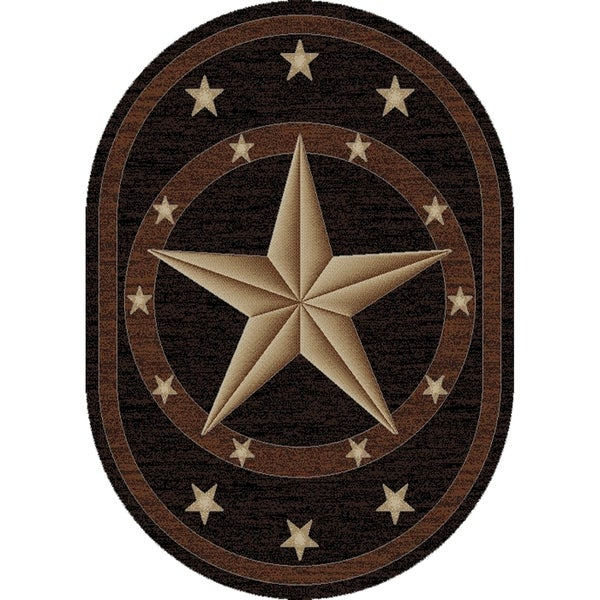 Shop Western Texas Star Black Oval Area Rug 7 10 Quot X 9 10