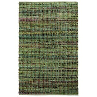 "Complex Green Woven 21x34"" Cotton Rug - 1'9"" x 2'10"""