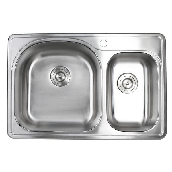 33 Inch Topmount Stainless Steel 70 30 Double Bowl Kitchen Sink 18g Overstock 21505365