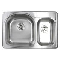 33 Inch Topmount Stainless Steel 70/30 Double Bowl Kitchen Sink 18G