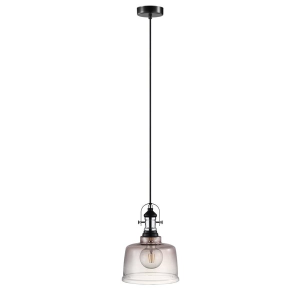 Eglo Gilwell 1-Light Pendant with Smoked Glass Shade