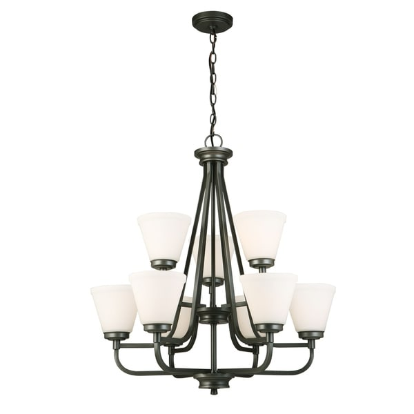 Eglo Mayview Graphite Steel/Glass 9-light Chandelier