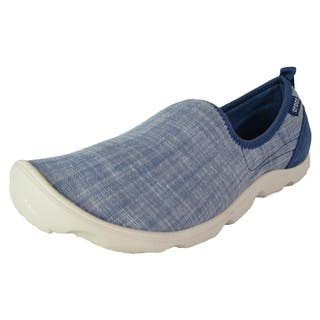 Crocs Womens Busy Day Chambray Skimmer Loafer Shoes, Bijou Blue/Stucco