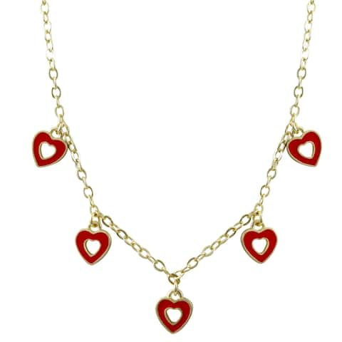 Luxiro Gold Finish Dangling Open Heart Enamel Children's Charm Necklace
