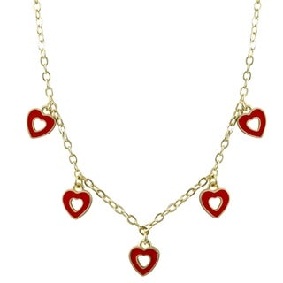 Luxiro Gold Finish Dangling Open Heart Enamel Children's Charm Necklace - N/A