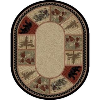 "Rustic Lodge Bear Panel 5x7 Oval Area Rug 5'3""x7'3"" - 5'3"" x 7'3"" Oval"