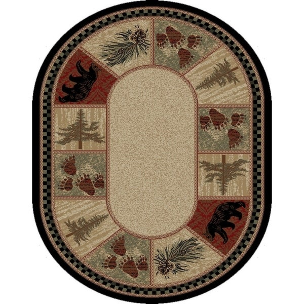 Shop Rustic Lodge Bear Panel 5x7 Oval Area Rug 5 3 Quot X7 3