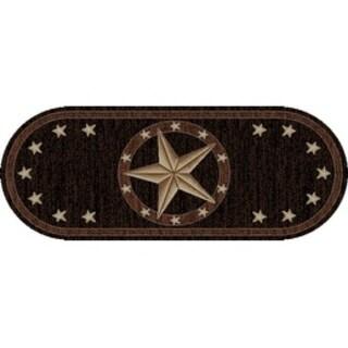 """Western Texas Star Black Oval Area Rug - 2'3"""" x 5'3"""" Oval"""