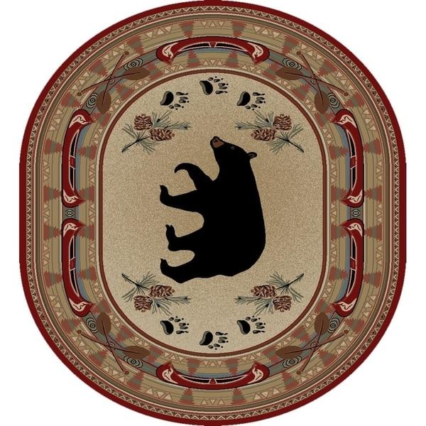 "Rustic Lodge Red Black Bear Fish 8x10 Oval Area Rug 7'10""x9'10"" - 7'10"" x 9'10"" Oval"