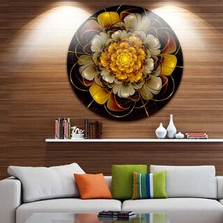 Designart 'Dark Gold Fractal Flower' Digital Art Disc Metal Artwork - 29 x 29 (As Is Item)