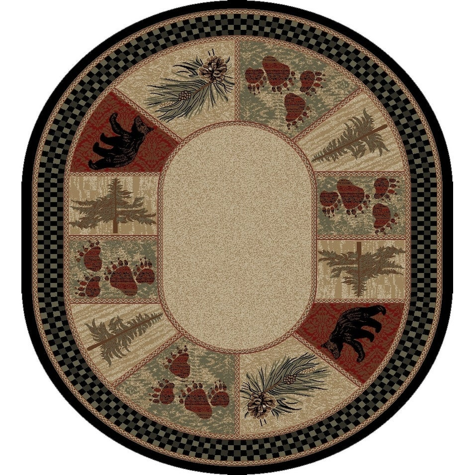 Rustic Lodge Pine Cone Border Oval Area Rug - 710 x 910 Oval (Multi - 710 x 910 Oval)