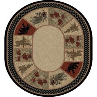 "Rustic Lodge Pine Cone Border Oval Area Rug - 7'10"" x 9'10"" Oval"