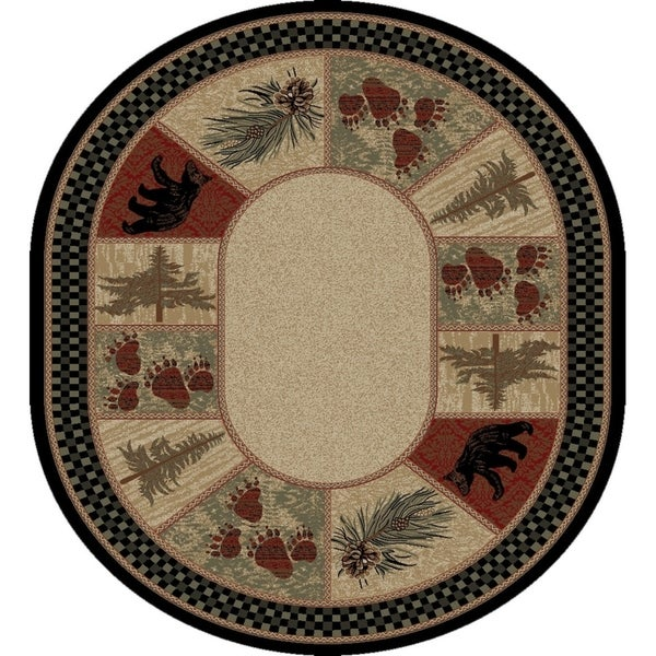 Shop Rustic Lodge Pine Cone Border Oval Area Rug 7 10 Quot X
