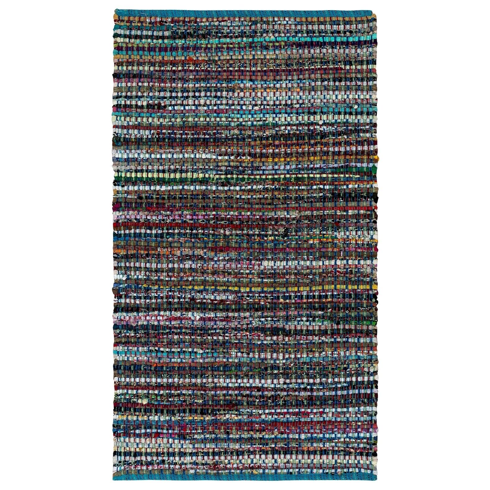 Complex Blue Woven 30x50 Cotton Rug - 26 x 3 (Blue - 26 x 3)